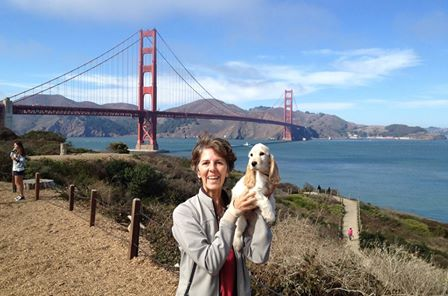 Monica and baby Laika by the Golden Gate bridge